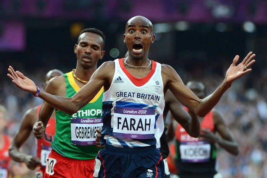 Mo Farah celebrating after winning the men's 5000m final at the London 2012 Olympic Games.