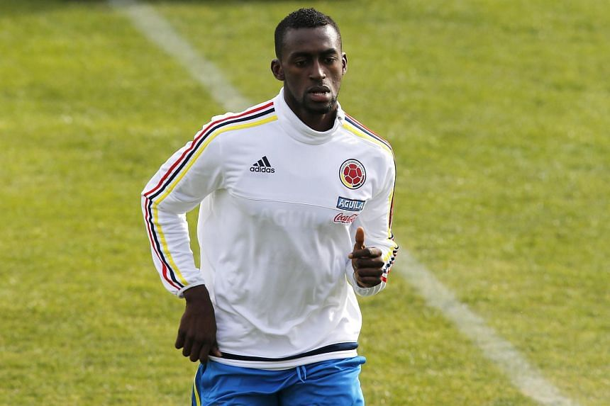 Colombian player Jackson Martinez during a training session in Santiago on June 19, 2015.