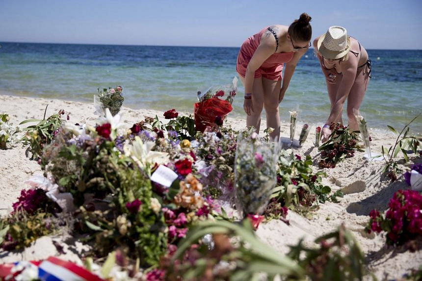 The site of the attack by a jihadist guman on the beach in front of the Riu Imperial Marhaba Hotel in Port el Kantaoui on June 30, 2015.