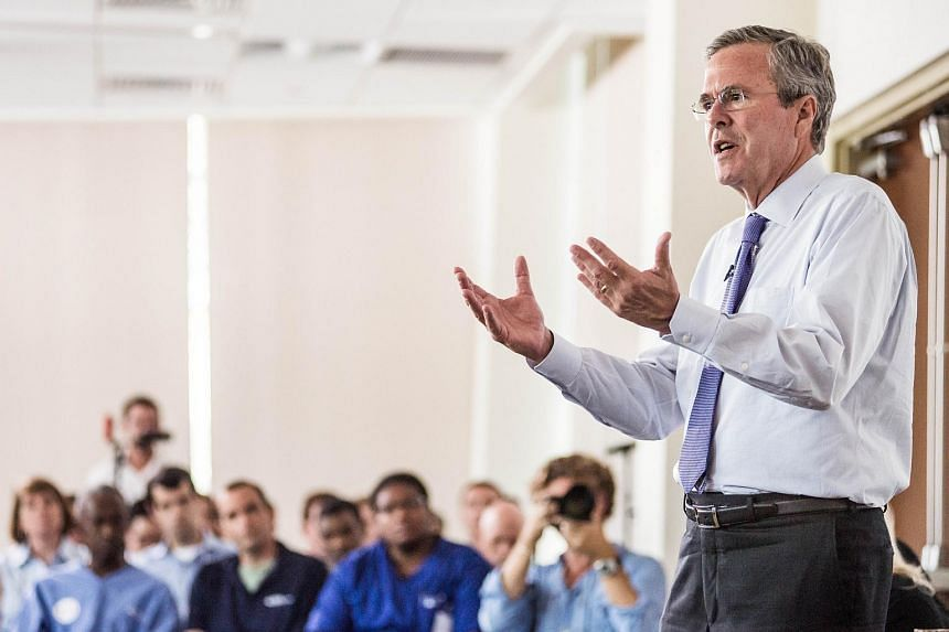 US presidential candidate Jeb Bush answering questions from employees of Nephron Pharmaceutical Company
