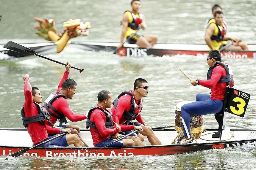 The Thai team celebrating their win in the men's six-crew 200m event in Traditional Boat Race, one of their five golds in the sport. OCM chief Sieh Kok Chi called Singapore hospitable for including sports in which they traditionally had not done well