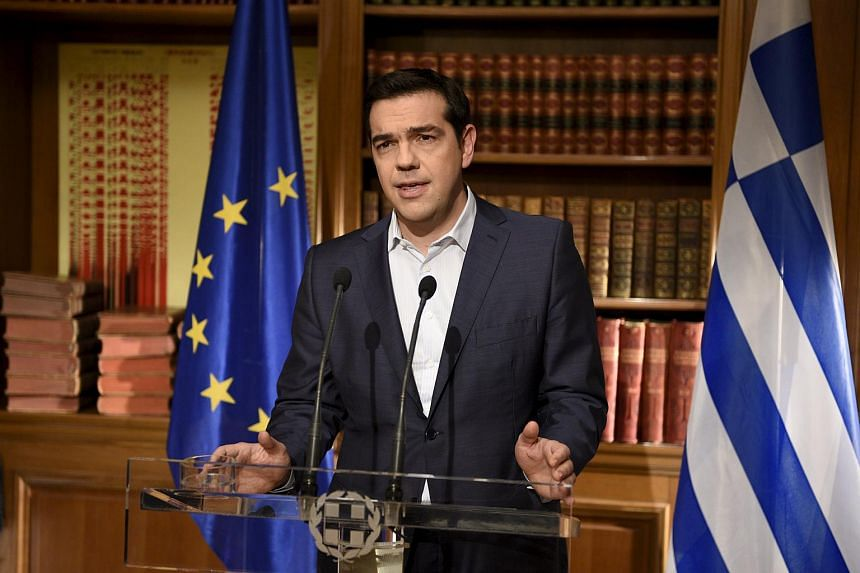 Greek PM Alexis Tsipras addressing the nation.
