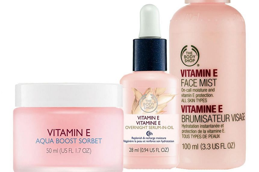 Products from The Body Shop's Vitamin E range.