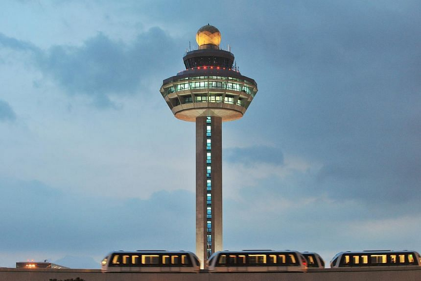 The Changi Airport control tower.