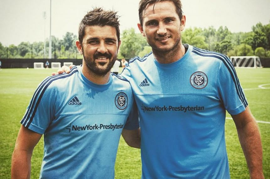 A photo of David Villa (left) and Frank Lampard from Villa's Instagram page.