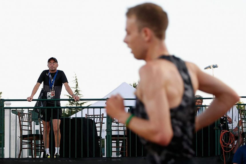 Nike Oregon Project coach Alberto Salazar watching as Galen Rupp raced to his seventh straight 10,000m title in the USA Outdoor Track & Field Championships  last week. The 56-year-old Cuban-born American is under investigation by both the US Anti-Doping A