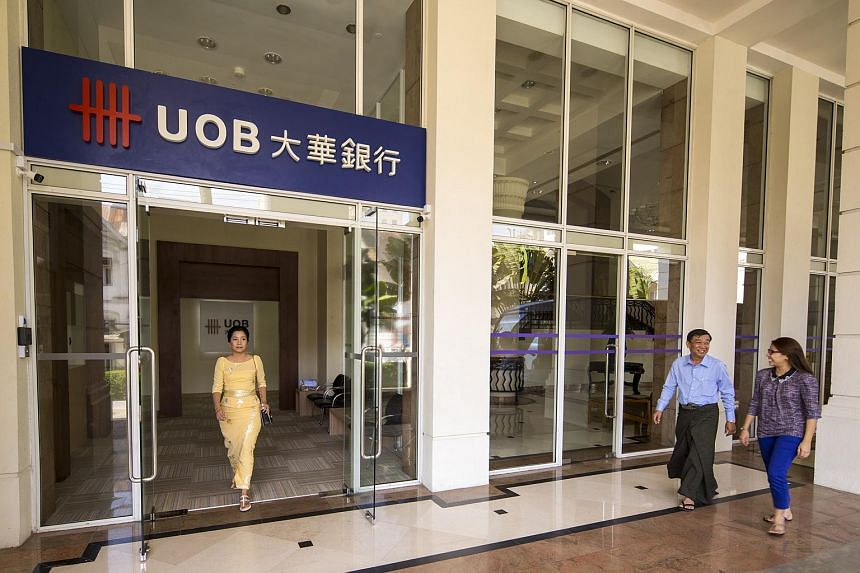 The entrance of the new UOB branch in Yangon, Myanmar.