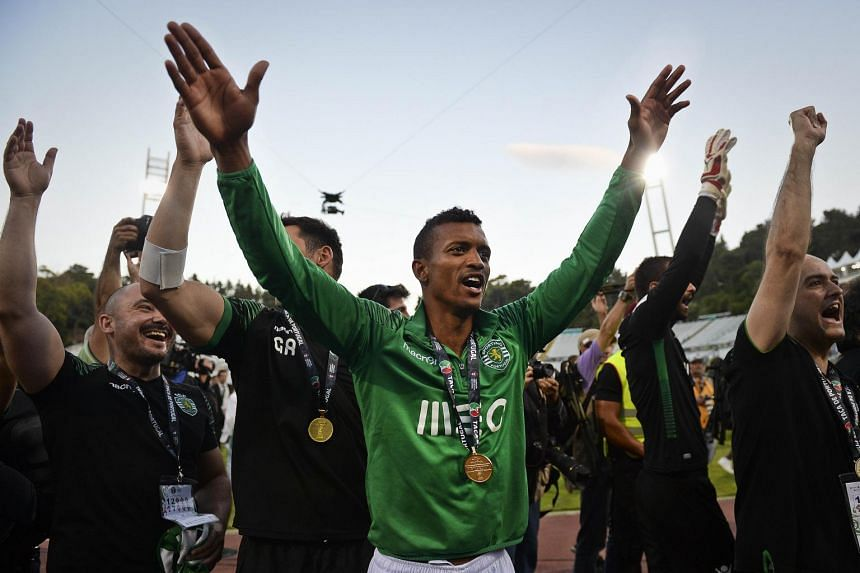 Sporting midfielder Nani celebrating after a Portuguese Cup match in Lisbon on May 31, 2015.
