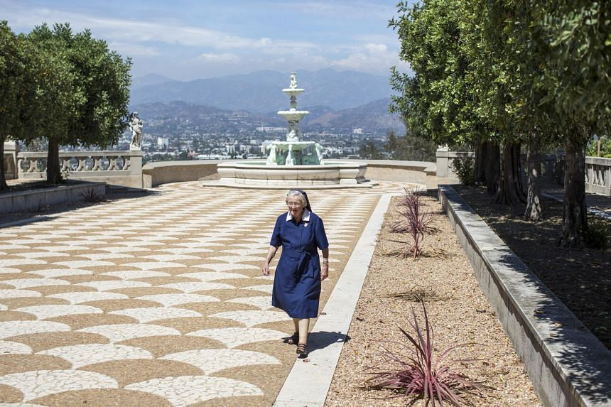 Sister Catherine Rose Holzman at the estate where the motherhouse of the Sisters of the Most Holy and Immaculate Heart of the Blessed Virgin Mary was located, in Los Angeles on July 2, 2015.