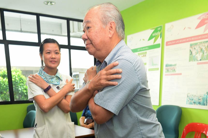 Mr Soh Chin Siang doing exercises at the Nee Soon South Community Nurse Post. According to a geriatric consultant, it is important for people at high risk of falling to boost their muscle strength.