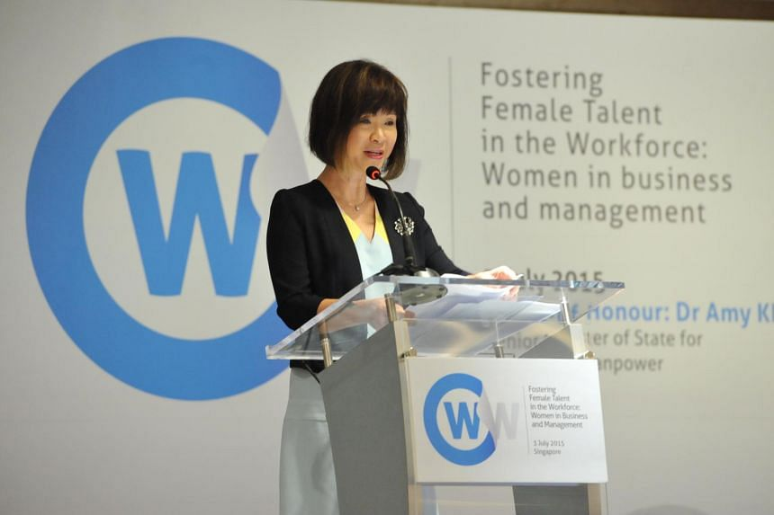 Senior Minister of State for Manpower and Health Amy Khor speaking at the International Labour Organisation Asia-Pacific regional conference, Fostering Female Talent in the Workforce.