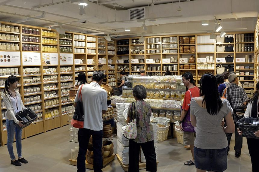 Shoppers at the Muji store at 313@Somerset.