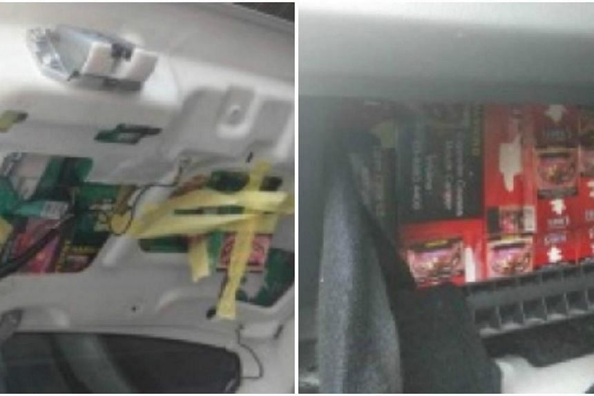 Contraband cigarettes hidden in modified boot and glove compartment.