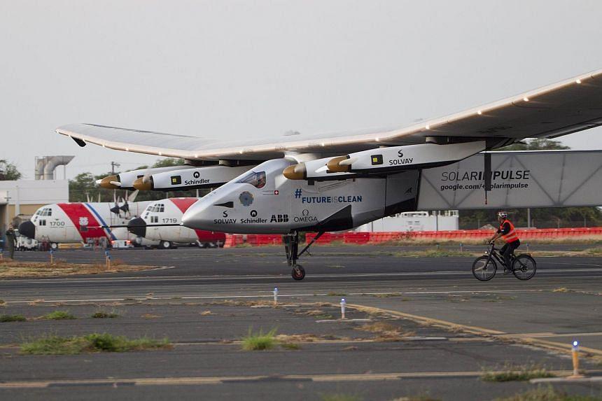 The Solar Impulse 2 landing at Kalaeloa Airport.