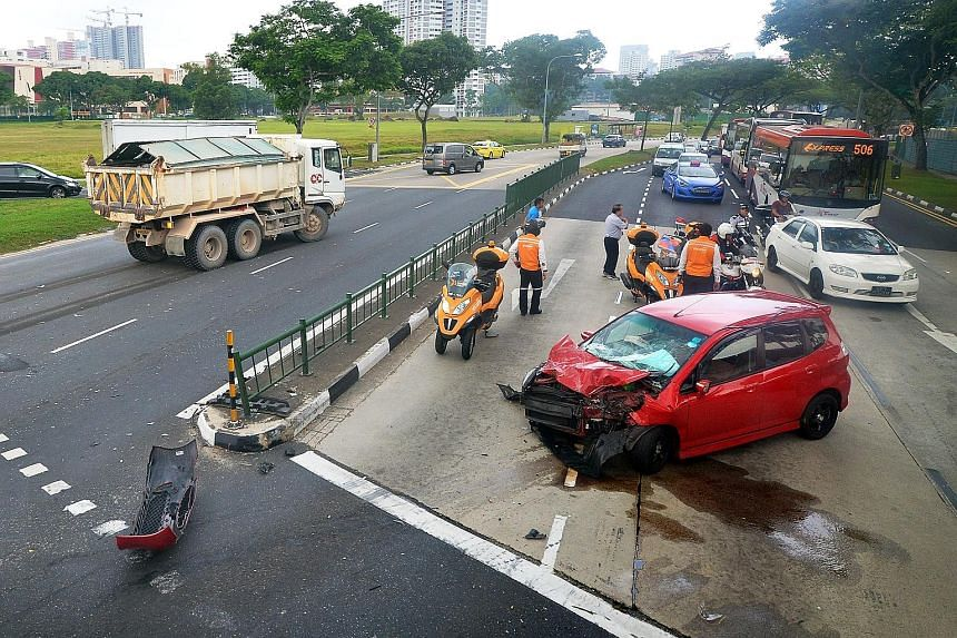 A 27-year-old man was injured in a collision between a tipper truck and a car at the junction of Bukit Batok Road and Bukit Batok West Avenue 3 yesterday afternoon. He was taken, still conscious, to the National University Hospital. Police said they
