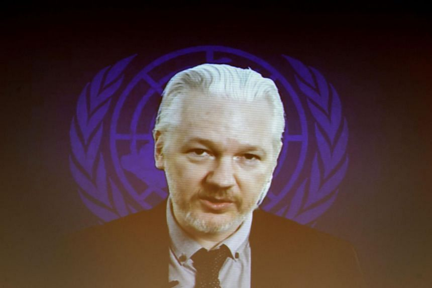 Assange speaking via webcast in a March 2015 file photo.