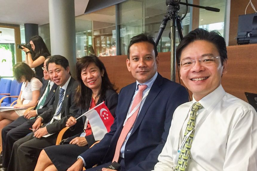 (from right) The Singapore delegation at the Unesco World Heritage Site meeting in Bonn, Germany, includes Minister of Culture, Community and Youth Lawrence Wong, Singapore Ambassador to Germany Jai S. Sohan and National Heritage Board chief executiv