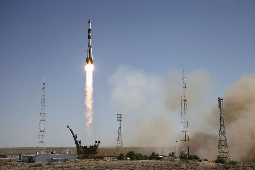 A Russian Progress spacecraft blasting off from the launch pad at the Baikonur cosmodrome, Kazakhstan on July 3, 2015.