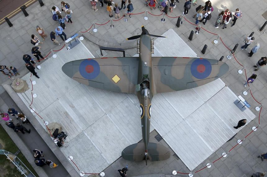 The restored Spitfire on display outside the Churchill War Rooms in London.