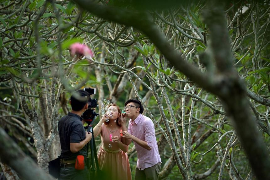 Channel marketer Eugene Cheong (in pink), 31, and sub-editor Audrie Soh, 28 (above), having their wedding photographs taken at the Botanic Gardens; one of many groups that exercise regularly at the Gardens; family time in front of the iconic Tembusu
