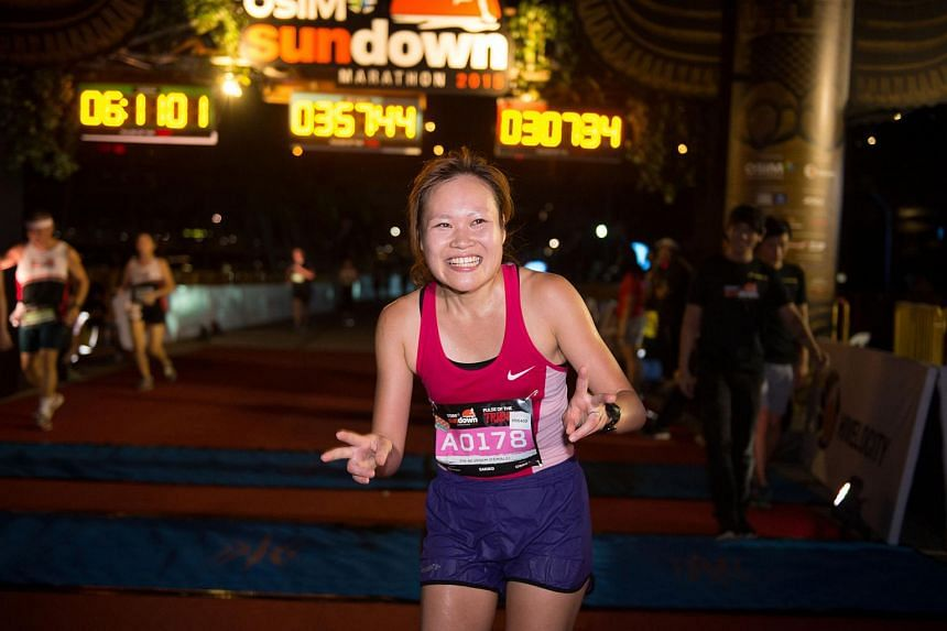 Ms Sakiko Matsumoto, 28, after finishing first in the women's division of the 42.195km marathon at the OSIM Sundown marathon.