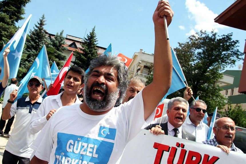 Turks demonstrate in front of the Chinese Embassy in Ankara on July 4, 2015, over Uighur Muslims.