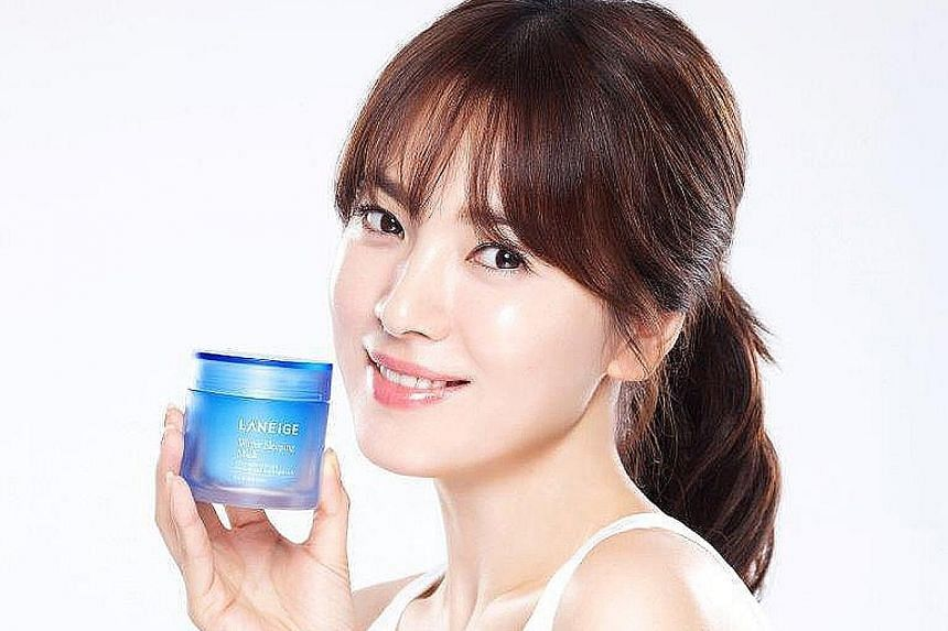 Many of the company's brands are fronted by the biggest South Korean names in showbusiness, such as popular actress Song Hye Kyo (left) for Laneige, and A-list actor Lee Min Ho and Im Yoona of girl band Girls Generation for Innisfree.