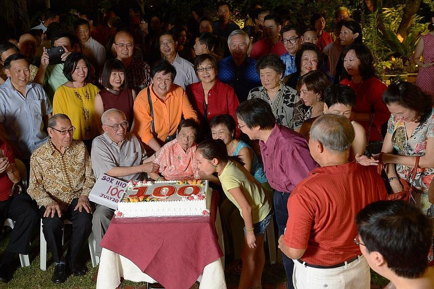 Mrs Wee Kim Wee, the wife of the late former Singapore President, turned 99 yesterday. About 100 people held a party for her at her Siglap home. Her great- granddaughter Bethany Wee, 10, blew out the candle on a cake with the number 100, Mrs Wee's ag