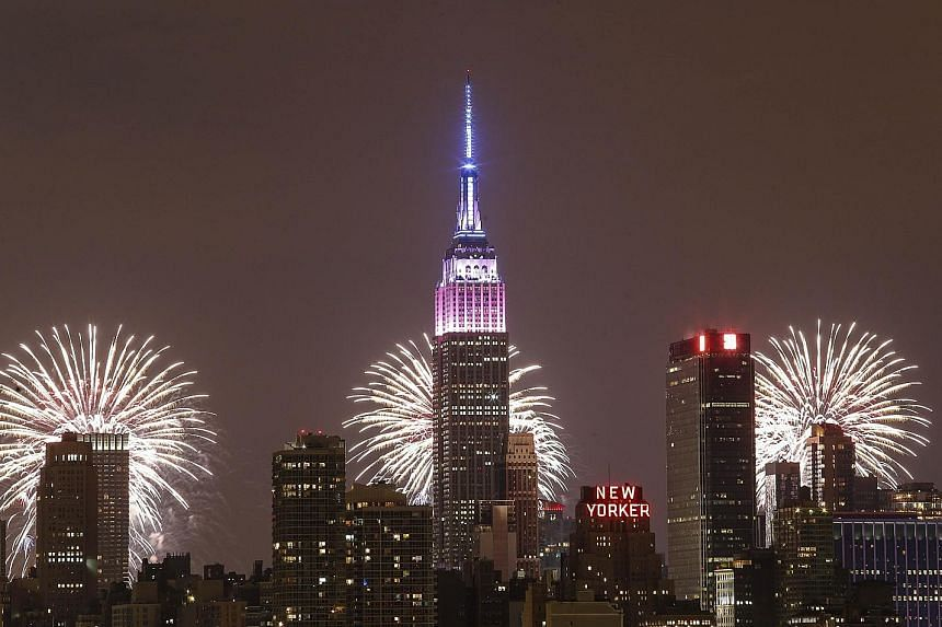 Fireworks lighting up the New York City skyline during the annual Macy's Fourth of July fireworks.