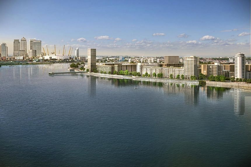 An artist's impression of the Royal Wharf development along the River Thames in London.