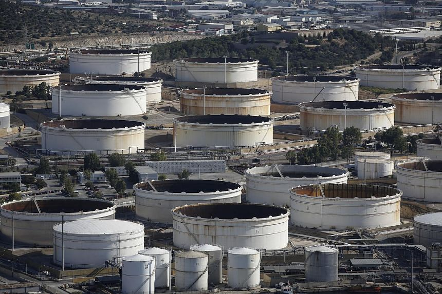 Oil storage tanks at the Aspropyrgos refinery, operated by Motor Oil (Hellas) Corinth Refineries SA, in Athens.
