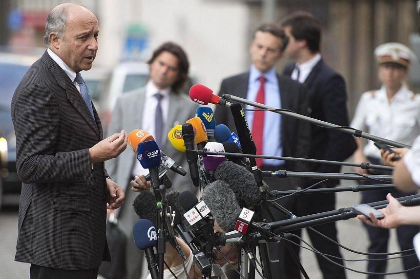 French Foreign Minister Laurent Fabius at the Palais Coburg Hotel, where the Iran nuclear talks meetings are being held, in Vienna, Austria, on July 5, 2015.