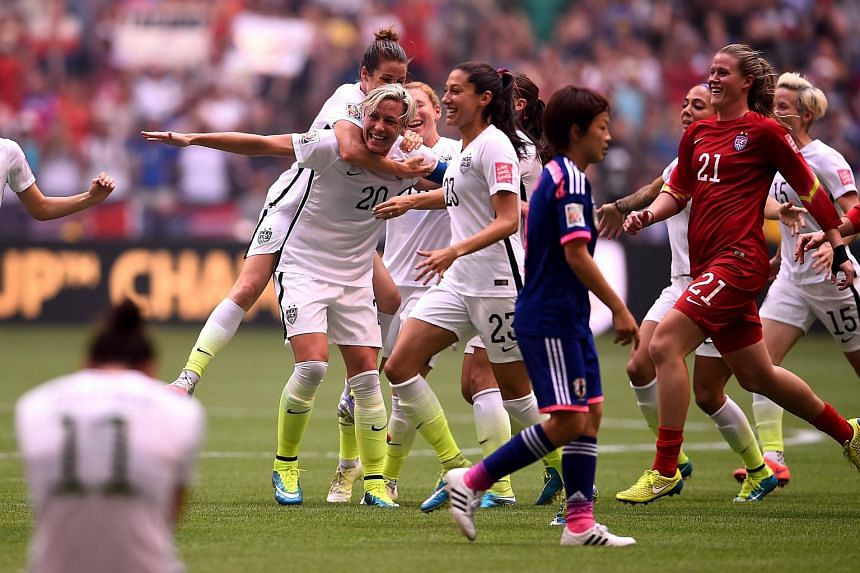The United States celebrates the 5-2 victory against Japan in the Fifa Women's World Cup.
