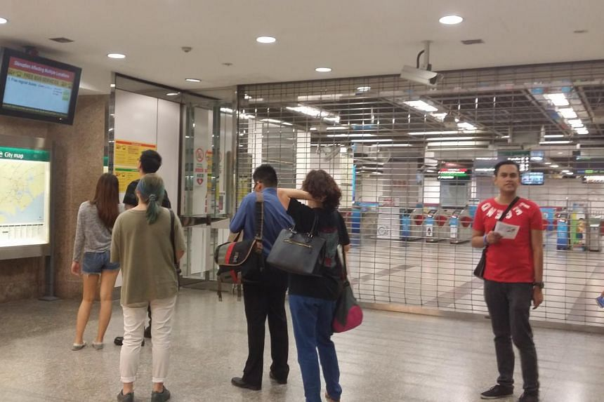 City Hall MRT Station after the train disruption on July 7, 2015.
