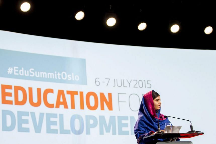 Nobel Peace Prize winner Malala Yousafzai speaks during the Oslo Summit on Education for Development at Oslo Plaza in Oslo, Norway on July, 7, 2015.