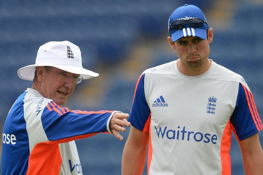 England coach Trevor Bayliss with Alastair Cook during a training session.