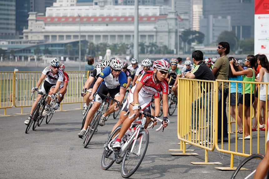 Cyclists at the OCBC Cycle event.