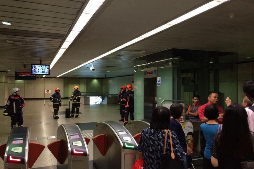 SCDF officers at Braddell MRT station on July 7, 2015.