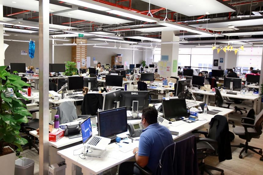 The common area of the Facebook office in Singapore. Facebook will be one of five tech companies featured as the best tech companies to work for in Singapore.