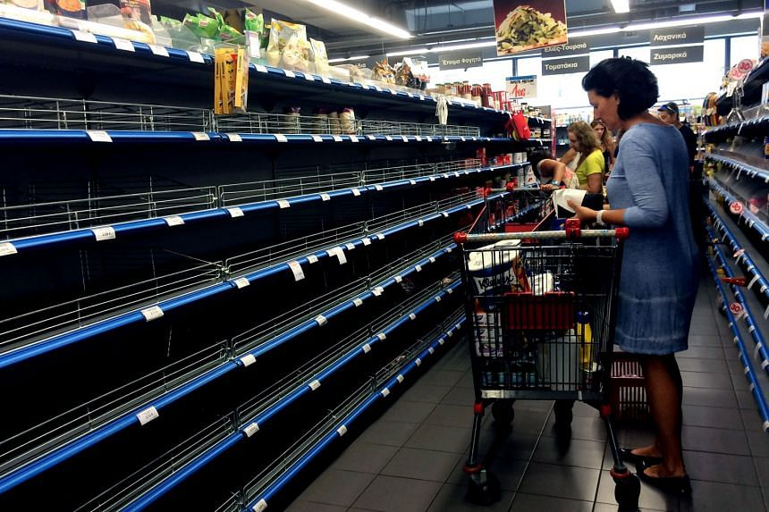 In the past week, many Greeks have scrambled to hoard food amid mounting fears that the economy could collapse, stripping supermarket shelves in the process.