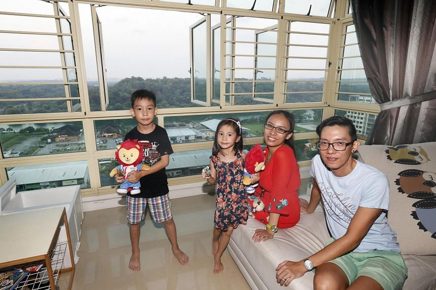 Mr Brian Chee, 41, his wife Catherine Low, 38, their daughter Heidi, five, and son Reygan, eight, live in a top-floor four-room flat in Punggol East. They are happy there and have no intention to sell despite attractive resale prices.