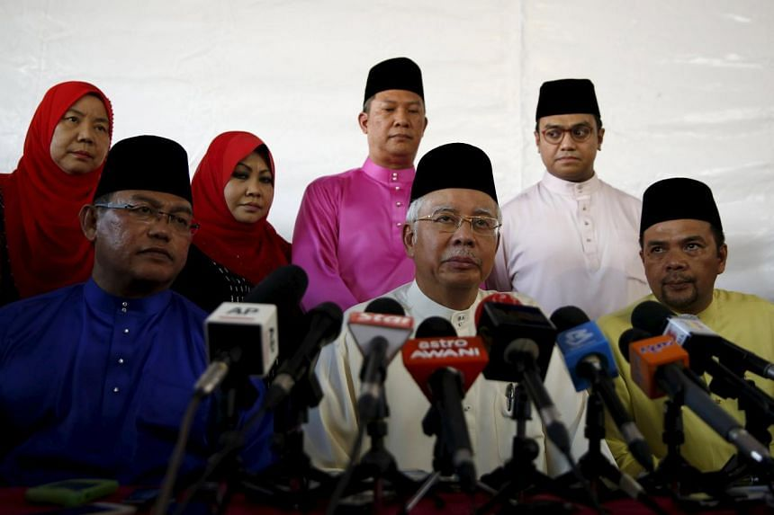 Malaysian Prime Minister Najib Razak speaking to the media at a mosque outside Kuala Lumpur, Malaysia, on July 5, 2015.