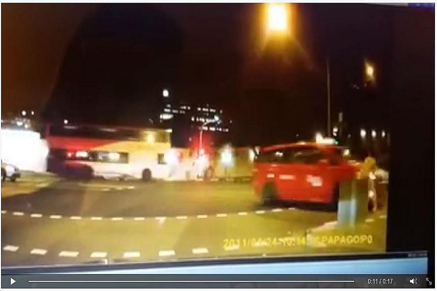 A screen grab shows Ms Elise Tay jogging at the junction of Jalan Bukit Merah and Kampong Bahru Road and the taxi turning onto the road and hitting her. The taxi driver did not stop after the accident.