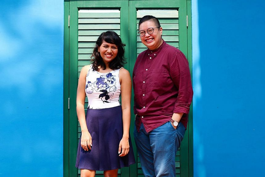 (From left) Singapore theatre practitioners Nabilah Said, 30, and Tan Liting, 28. PHOTO: CENTRE 42
