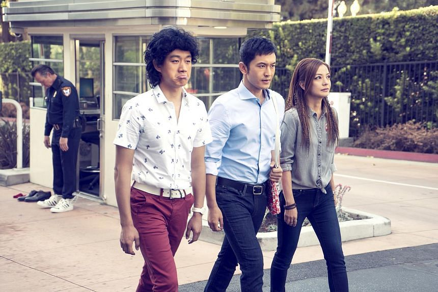 (From left) Tong Dawei, Huang Xiaoming and Zhao Wei in Hollywood Adventures.