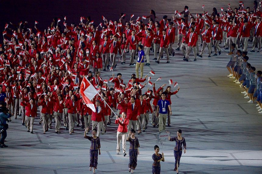 The Singapore SEA Games contingent at the 28th SEA Games opening ceremony.