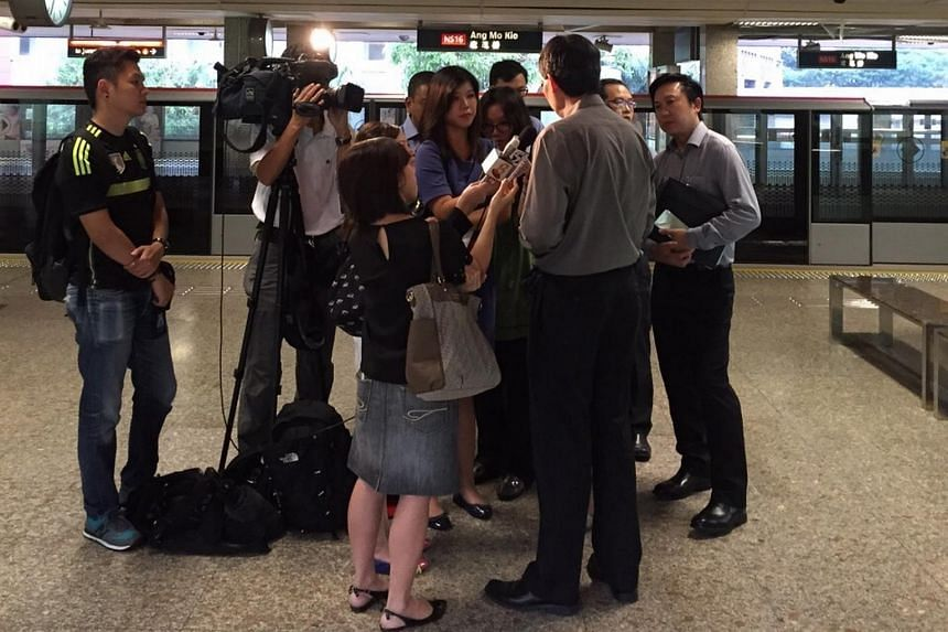 Transport Minister Lui Tuck Yew at Ang Mo Kio station on Wednesday (June 8) morning.