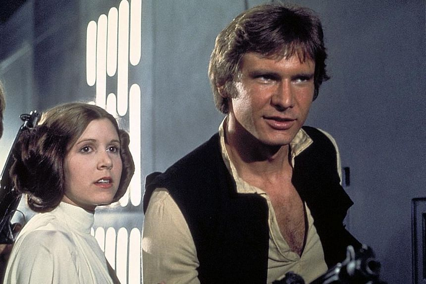 Harrison Ford as Han Solo (above, with Carrie Fisher as Princess Leia) in 1977's Star Wars: Episode IV - A New Hope.
