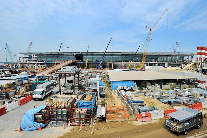 Construction of Changi Airport Terminal 4 on July 9, 2015.