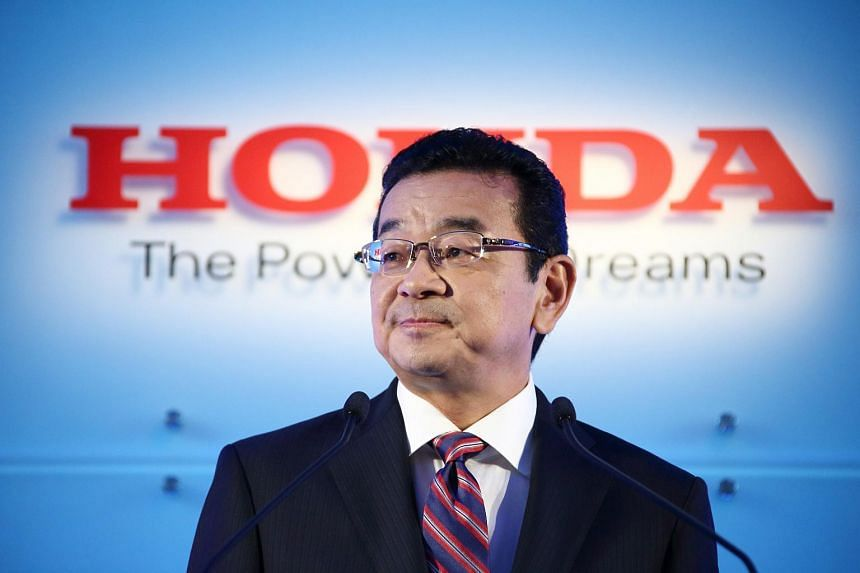 Takahiro Hachigo, president of Honda Motor Co., at a news conference in Tokyo, Japan, on July 6, 2015.